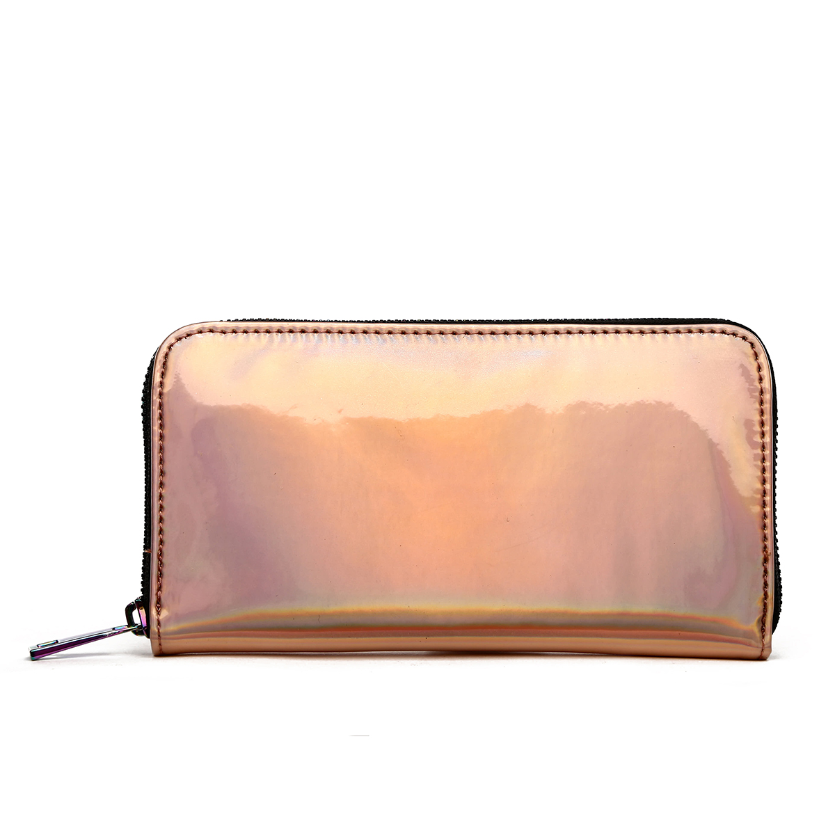 Hologram Zip Around Wallet with Rainbow Zipper Rose Gold